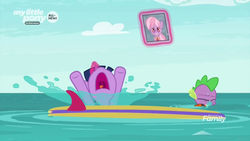Size: 1920x1080 | Tagged: safe, screencap, dusty pages, spike, twilight sparkle, alicorn, dragon, pony, the point of no return, discovery family logo, fail, female, gasp, gasping, glowing horn, hooves in air, hooves up, magic, male, mare, nose in the air, open mouth, splash, telekinesis, twilight sparkle (alicorn), water, windsurfing, winged spike, wings