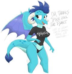 Size: 1200x1243 | Tagged: safe, artist:flutterthrash, princess ember, dragon, anthro, black underwear, breasts, busty princess ember, clothes, dragoness, dragonforce, female, panties, shirt, simple background, t-shirt, underwear, white background