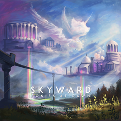 Size: 3000x3000 | Tagged: album cover, alicorn, aqueduct, artist:shamanguli, cloud, cloudsdale, crepuscular rays, greek, greek architecture, high res, mountain, no pony, pillar, ponies at dawn, rainbow waterfall, safe, scenery, square, water
