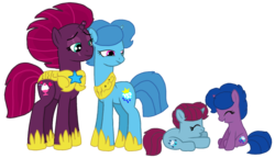 Size: 1880x1080 | Tagged: safe, artist:徐詩珮, fizzlepop berrytwist, spring rain, tempest shadow, oc, oc:spring grezt, oc:storm lightning, unicorn, my little pony: the movie, base used, broken horn, family, female, filly, hoof shoes, horn, lesbian, magical lesbian spawn, mare, mother and daughter, offspring, parent:spring rain, parent:tempest shadow, parents:springshadow, royal guard, shipping, siblings, simple background, sisters, springshadow, tempest becomes a royal guard, transparent background