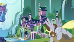 Size: 1920x1080   Tagged: safe, screencap, derpy hooves, pegasus, pony, the point of no return, arrow, box, bubble butt, butt, featureless crotch, female, flying, mail, mare, plot, school of friendship, solo, spread wings, subtle as a train wreck, twilight's castle, water, waterfall, wings