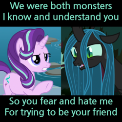 Size: 1280x1280 | Tagged: changeling, changeling queen, cropped, edit, edited screencap, female, pony, queen chrysalis, safe, school daze, screencap, starlight glimmer, text, the mean 6, unicorn