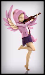 Size: 3340x5560 | Tagged: 3d, absurd res, adidas, anthro, artist:imafutureguitarhero, bandage, bandages on wrist, barefoot, belly button, border, bow (instrument), chromatic aberration, clothes, colored eyebrows, colored wings, eyes closed, feet, female, film grain, fluttershy, hand wraps, jacket, legs, long hair, long mane, mare, miniskirt, musical instrument, no pants, pegasus, plantigrade anthro, playing instrument, pleated skirt, safe, short shirt, signature, simple background, skirt, smiling, solo, source filmmaker, standing, standing on one leg, tanktop, tiptoe, tracksuit, vertical, violin, violin bow, wall of tags, white background, windswept hair, windswept mane, windswept tail, wings, wrist wraps