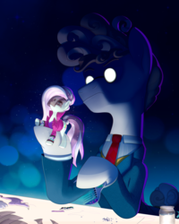 Size: 2002x2500 | Tagged: artist:askometa, coloratura, comb, countess coloratura, earth pony, evil, glare, necktie, ponies playing with ponies, pony, safe, svengallop, symbolism, the mane attraction, tiny, tiny ponies