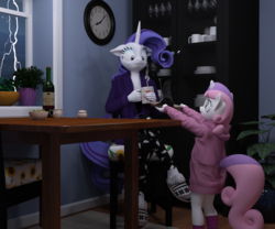 Size: 2400x2000 | Tagged: safe, artist:tahublade7, rarity, sweetie belle, anthro, plantigrade anthro, unicorn, 3d, alcohol, clock, clothes, cooking, daz studio, duo, female, filly, food, lightning, mare, siblings, sisters, slippers, sweater, sweetie belle can't cook, sweetie fail, wine