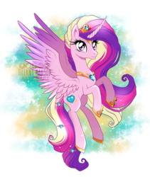 Size: 1094x1296 | Tagged: safe, artist:tiffanymarsou, princess cadance, alicorn, pony, curved horn, female, flying, horn, jewelry, mare, regalia, smiling, solo