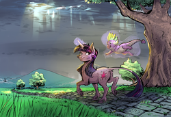 Size: 2958x2028 | Tagged: alternate design, artist:earthsong9405, artist:imsokyo, butt fluff, chest fluff, classical unicorn, cloud, cobblestone street, collaboration, crepuscular rays, cute, daily life of spike, dragon, duo, eye contact, female, floating, frog (hoof), grass, grin, happy, hoof fluff, leg fluff, leonine tail, levitation, looking at each other, looking back, magic, magic aura, male, mare, open mouth, path, pony, raised hoof, raised leg, realistic horse legs, safe, scar, smiling, spikabetes, spike, spikelove, tail fluff, telekinesis, tree, twilight sparkle, underhoof, unicorn, unicorn twilight, unshorn fetlocks