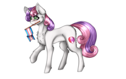 Size: 1280x800   Tagged: safe, artist:uglypartyhat, sweetie belle, pony, unicorn, cutie mark, female, filly, flag, lgbt, lgbt headcanon, mouth hold, pride, pride flag, simple background, solo, the cmc's cutie marks, trans female, trans sweetie belle, transgender, transgender pride flag, transparent background