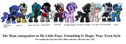 Size: 992x351 | Tagged: safe, artist:nukarulesthehouse1, cozy glow, discord, grogar, king sombra, lord tirek, nightmare moon, pony of shadows, queen chrysalis, starlight glimmer, storm king, centaur, pegasus, pony, unicorn, pony town, my little pony: the movie, the beginning of the end, antagonist, cozybetes, cute, cutealis, discute, female, game, game screencap, legion of doom, male, mare, moonabetes, pixel art, ram, shadorable, simple background, sombradorable, stallion, stormabetes, tirebetes, white background
