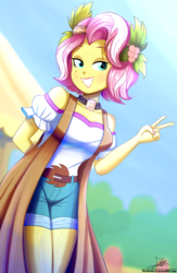 Size: 1020x1560 | Tagged: artist:the-butch-x, beauty mark, clothes, equestria girls, equestria girls series, female, flower, flower in hair, grin, nail polish, off shoulder, peace sign, rollercoaster of friendship, safe, shirt, shorts, smiling, solo, vignette valencia