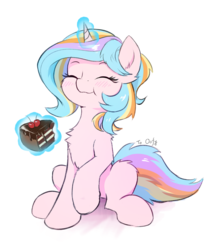 Size: 1783x2157 | Tagged: safe, artist:draconidsmxz, oc, oc only, oc:oofy colorful, pony, unicorn, blushing, cake, chest fluff, chocolate cake, eating, eyes closed, female, food, magic, mare, simple background, sitting, sketch, solo, telekinesis, white background
