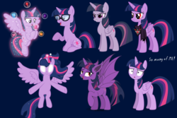 Size: 3000x2000 | Tagged: alicorn, alicorn amulet, artist needed, bat ponified, bat pony, bat pony alicorn, blank eyes, clone, deviantart, element of generosity, element of honesty, element of kindness, element of laughter, element of loyalty, element of magic, elements of harmony, equestria girls, equestria girls ponified, ethereal mane, glowing eyes, mean twilight sparkle, multeity, pony, purple background, race swap, safe, sci-twi, self ponidox, simple background, sparkle sparkle sparkle, starry mane, the mean 6, treelight sparkle, twibat, twilight sparkle, twilight sparkle (alicorn), twolight, unicorn, unicorn sci-twi, vector