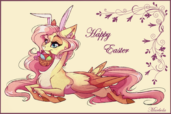 Size: 3010x2012 | Tagged: safe, artist:marbola, fluttershy, pegasus, pony, basket, bunny ears, chest fluff, cute, ear fluff, easter basket, easter egg, female, mare, pale belly, shyabetes, solo, tail feathers, unshorn fetlocks
