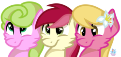 Size: 1648x781 | Tagged: safe, artist:rainbow eevee, daisy, flower wishes, lily, lily valley, roseluck, pony, female, flower trio, looking down, looking up, simple background, transparent background, trio
