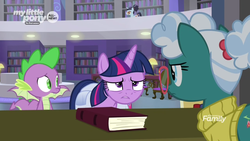 Size: 1366x768 | Tagged: alicorn, bellflower blurb, book, bookshelf, booksmart, dragon, glasses, librarian, library, saddle bag, safe, screencap, spike, spoiler:s09e05, the point of no return, twilight sparkle, twilight sparkle (alicorn), winged spike