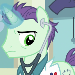 Size: 916x919 | Tagged: cropped, doctor, dr steth, glowing horn, looking down, male, on your marks, pony, safe, screencap, solo, stallion, stethoscope, unicorn