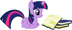 Size: 2224x930 | Tagged: safe, artist:timelordomega, twilight sparkle, pony, unicorn, applebuck season, book, bookhorse, female, lying, mare, ponyloaf, prone, reading, simple background, smiling, solo, transparent background, unicorn twilight, vector
