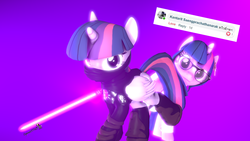 Size: 1920x1080 | Tagged: 3d, alicorn, artist:spinostud, clothes, glasses, jedi, lab coat, lightsaber, pony, request, safe, science, science fiction, sci-twi, scitwilicorn, source filmmaker, star wars, twilight sparkle, twilight sparkle (alicorn), weapon