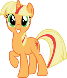 Size: 1920x2233 | Tagged: applejack, edit, female, fusion, looking at you, mare, palette swap, pony, ponyar fusion, raised hoof, recolor, safe, simple background, smiling, solo, transparent background, twilight sparkle, unicorn, unicorn applejack, unicorn twilight, vector, vector edit