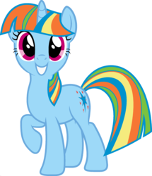 Size: 1920x2233 | Tagged: edit, female, fusion, looking at you, mare, palette swap, pony, ponyar fusion, rainbow dash, raised hoof, recolor, safe, simple background, smiling, solo, transparent background, twilight sparkle, unicorn, unicorn rainbow dash, unicorn twilight, vector, vector edit