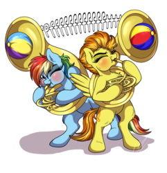 Size: 878x910 | Tagged: artist:lupiarts, beach ball, blowing, blowing fetish, blushing, cute, cutefire, dashabetes, eyes closed, inflatable, inflating, musical instrument, one eye closed, pegasus, pony, puffy cheeks, rainblow dash, rainbow dash, safe, simple background, sousaphone, spitfire, transparent background, weird fetish, wink
