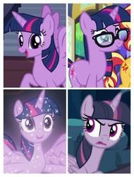 Size: 3106x4096   Tagged: safe, mean twilight sparkle, sci-twi, sunset shimmer, tree of harmony, twilight sparkle, alicorn, pony, unicorn, equestria girls, equestria girls series, season 8, spring breakdown, the mean 6, twilight's kingdom, what lies beneath, spoiler:eqg series (season 2), spoiler:s08, clone, equestria girls ponified, female, offscreen character, treelight sparkle, twilight sparkle (alicorn), unicorn sci-twi