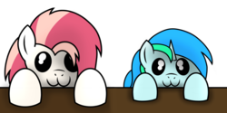 Size: 2000x1000 | Tagged: :3, artist:toyminator900, colt, female, looking at you, male, mare, oc, oc:aureai, oc:cyan lightning, oc only, pegasus, pony, safe, simple background, table, transparent background, unicorn