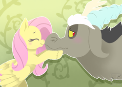 Size: 995x709 | Tagged: abstract background, artist:c0ralsky, artist:coralsky, blushing, discord, discoshy, draconequus, eyes closed, female, floppy ears, fluttershy, lidded eyes, looking back, male, mare, nose kiss, pegasus, pony, safe, shipping, smiling, straight, wavy mouth