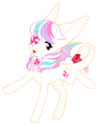 Size: 1280x1590 | Tagged: artist:dusty-onyx, augmented tail, bat wings, bow, candy, food, oc, oc:magic sprinkles, patch, safe, simple background, sprinkles, tongue out, transparent background, wings