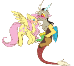 Size: 946x845 | Tagged: artist:lolwise, blushing, cute, discord, discoshy, discute, draconequus, female, fluttershy, flying, looking at each other, male, mare, one eye closed, pegasus, pony, safe, shipping, shyabetes, simple background, smiling, straight, transparent background, wings