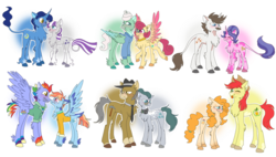 Size: 1024x581 | Tagged: safe, artist:lolwise, bow hothoof, bright mac, cloudy quartz, cookie crumbles, gentle breeze, hondo flanks, igneous rock pie, night light, pear butter, posey shy, twilight velvet, windy whistles, bat pony, classical unicorn, earth pony, pegasus, pony, unicorn, blushing, brightbutter, chest fluff, clothes, cloven hooves, coat markings, colored hooves, colored wings, cookieflanks, dock, eyes closed, fangs, female, frown, gradient wings, headcanon, headcanon in the description, husband and wife, leg fluff, leonine tail, male, mare, multicolored wings, nightvelvet, one eye closed, quartzrock, shipping, shys, simple background, smiling, stallion, straight, tongue out, transparent background, unshorn fetlocks, windyhoof, wings, wink