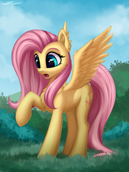 Size: 2000x2666 | Tagged: safe, artist:setharu, fluttershy, pegasus, pony, dragonshy, bush, chest fluff, cute, ear fluff, female, fluffershy, grass, mare, scared, scene interpretation, scenery, shadow, shyabetes, solo, spread wings, wing fluff, wings