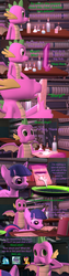 Size: 1920x7560 | Tagged: 3d, alicorn, artist:papadragon69, bottle, cauldron, choice, choose your own adventure, comic, comic:spike's cyosa, dragon, drool, laboratory, licking, older, older spike, paper, potion, princess ember, safe, school of friendship, smolder, source filmmaker, spike, teenager, teenage spike, tongue out, twilight sparkle, twilight sparkle (alicorn), winged spike