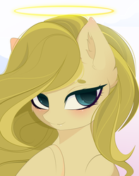 Size: 3000x3800 | Tagged: artist:xsatanielx, bust, commission, female, halo, mare, oc, oc only, pony, portrait, safe, solo