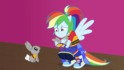 Size: 1920x1080 | Tagged: babies, baby, equestria girls, equestria girls series, female, holding, lifejacket, male, mr. bouncy, ponied up, rabbit, rainbow dash, safe, screencap, smiling, spoiler:eqg series (season 2), spring breakdown, super ponied up, wings