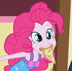 Size: 554x545   Tagged: safe, screencap, pinkie pie, equestria girls, rainbow rocks, bow, clothes, cropped, cute, diapinkes, female, food, mouth hold, pajamas, pinkie being pinkie, pizza, sleeveless, solo
