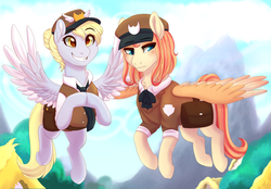 Size: 3000x2085 | Tagged: safe, artist:miamaha, derpy hooves, oc, oc:eventide twister, pegasus, pony, alternate hairstyle, clothes, female, flying, hair bun, hooves together, mailbag, mailmare, mailpony, mare, offspring, parent:quarter hearts, parent:sunset shimmer, parents:sunsethearts, uniform