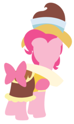 Size: 1898x3179 | Tagged: safe, artist:chachaxevaxjeffrey, chancellor puddinghead, pinkie pie, earth pony, pony, hearth's warming eve (episode), bow, clothes, female, hooves, lineless, mare, minimalist, modern art, simple background, solo, transparent background, vector