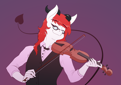 Size: 3508x2480 | Tagged: safe, artist:underpable, oc, oc only, anthro, incubus, anthro oc, bow (instrument), clothes, commission, eyes closed, glasses, high res, playing, purple background, simple background, solo, violin