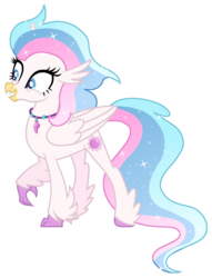 Size: 1298x1703 | Tagged: safe, artist:musical-medic, oc, oc only, oc:orella, classical hippogriff, hippogriff, hybrid, colored hooves, interspecies offspring, magical lesbian spawn, offspring, parent:princess celestia, parent:queen novo, parents:novolestia, simple background, solo, transparent background