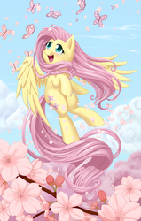Size: 3323x5225 | Tagged: safe, artist:dstears, fluttershy, butterfly, pegasus, pony, amazed, animal, cute, female, flower, flying, happy, looking at something, looking up, mare, open mouth, outdoors, shyabetes, sky, smiling, solo, spread wings, tree, windswept mane, wings