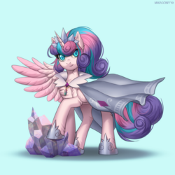 Size: 1200x1200 | Tagged: safe, artist:margony, princess flurry heart, alicorn, pony, adult, cape, clothes, crown, female, jewelry, looking at you, mare, necklace, older, older flurry heart, regalia, shoes, smiling, solo