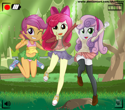 Size: 900x791 | Tagged: dead source, safe, artist:charliexe, apple bloom, scootaloo, sweetie belle, equestria girls, adorabloom, alternate clothes, belly button, bow, breasts, camera shot, clothes, converse, cute, cutealoo, cutie mark crusaders, diasweetes, female, grass, hair bow, legs, looking at you, midriff, miniskirt, one eye closed, open mouth, panties, pink underwear, pleated skirt, ribbon, schrödinger's pantsu, shoes, skirt, skirt lift, skirtaloo, smiling, socks, tanktop, thigh highs, thighs, tree, underwear, upskirt, wink, zettai ryouiki
