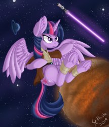 Size: 3934x4566 | Tagged: alicorn, april fools, april fools 2019, artist:sethisto, bandage, equestria daily, female, frog (hoof), hoofbutt, jedi, lightsaber, mare, planet, pony, safe, science fiction, solo, space, space mares, space mares daily, stars, star wars, twilight sparkle, twilight sparkle (alicorn), underhoof, weapon