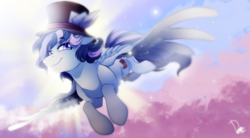 Size: 4500x2480 | Tagged: safe, artist:dormin-kanna, oc, oc only, pegasus, pony, commission, flying, hat, male, smiling, smirk, solo, top hat