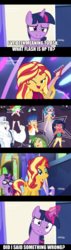 Size: 551x1950 | Tagged: safe, edited screencap, screencap, bulk biceps, desert sage, doodle bug, drama letter, flash sentry, mile hill, sandalwood, sci-twi, sunset shimmer, technicolor waves, twilight sparkle, waldo whereabout, watermelody, alicorn, unicorn, equestria girls, equestria girls series, spring breakdown, spoiler:eqg series (season 2), background human, belly button, bikini, clothes, comic, cute, diasentres, equestria girls ponified, implied cheating, implied flashimmer, implied shipping, implied straight, midriff, screencap comic, swimsuit, tankini, twilight sparkle (alicorn), unicorn sci-twi