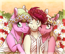 Size: 1600x1333 | Tagged: safe, artist:inuhoshi-to-darkpen, daisy, flower wishes, lily, lily valley, roseluck, earth pony, pony, :p, cheek fluff, clothes, cute, cuteluck, ear fluff, female, flower trio, leg fluff, lilybetes, mare, one eye closed, shoulder fluff, silly, smiling, toga, tongue out, wink