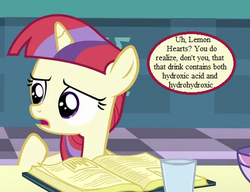 Size: 468x360 | Tagged: amending fences, book, cropped, cute, dancerbetes, dialogue, dihydrogen monoxide, edit, edited screencap, female, filly, filly moondancer, implied lemon hearts, moondancer, pony, princess celestia's school for gifted unicorns, safe, screencap, speech bubble, younger