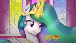 Size: 1920x1080 | Tagged: alicorn, artist:victoria-luna, bust, crown, cup, cute, cutelestia, female, food, hand, jewelry, magic, magic hands, mare, pony, portrait, princess celestia, regalia, safe, smiling, solo, tea, teacup, telekinesis