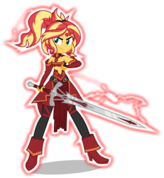 Size: 5000x5421 | Tagged: safe, artist:orin331, sunset shimmer, equestria girls, absurd resolution, clarent, clothes, cosplay, costume, crossover, cute, fate/apocrypha, fate/grand order, female, mordred, shimmerbetes, simple background, solo, sword, transparent background, weapon